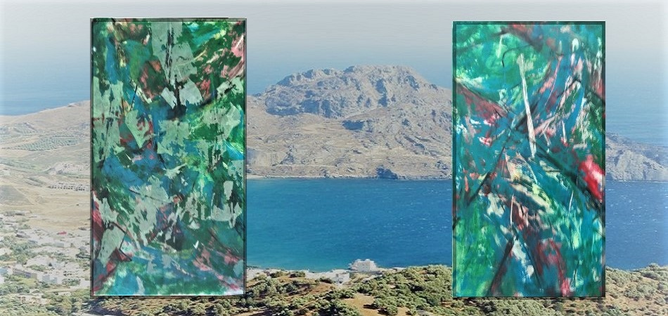 "ART GALLERY PLAKIAS - South coast of Crete; <br> ""FORCES of NATURE I and II"", cm 100 x 150 /       Eugen Hunziker Switzerland,  2018"